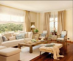 pretty living room with a picture window Beige Living Rooms, Boho Living Room, Home And Living, Living Room Decor, Living Spaces, Home Office Decor, Unique Home Decor, Home Room Design, House Design