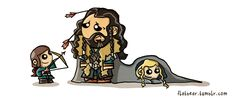 Poor cute Thorin as to be a cute Uncle and take care of his cute little Nephews Fili and Kili. Did I mention this is cute? Legolas And Thranduil, Fili And Kili, Hobbit Hole, The Hobbit, The Misty Mountains Cold, History Of Middle Earth, Cute Chibi, Disney Fan Art, Lord Of The Rings