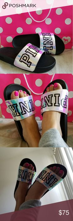 Victoria Secret Pink Slids Brand New never worn. Only used to take pics. SOLD OUT!!!!!! MY PRICE IS FIRM. NOT SURE IF I WANT TO SELL AND THEY ARE SOLD OUT. IM  A SIZE 6 FITS GREAT. UNDER PINK THERE IS SOFT CUSHION SO YOU HAVE COMFORT ALL DAY PINK Victoria's Secret Shoes Sandals