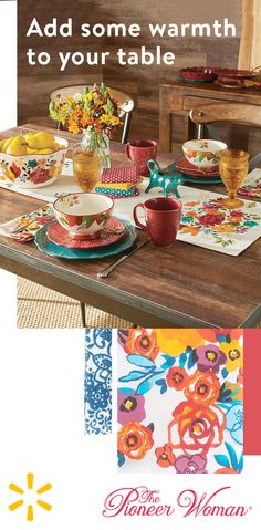 Introduce a festive flair to your home with table linens from The Pioneer Woman. Featuring beautiful vibrant floral prints, they're the perfect way to warm up any table. Shop the collection today at Walmart.com.