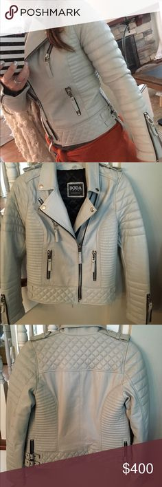 """🌟Final price🌟Boda Skins Kay Michaels Leather Platinum Grey Boda Skins jacket. This is a bit tight on me and I'm unsure if I really want to sell because it is an awesome jacket. It is NWOT. No size tag but it is an xs-s. I can zip it on the second zipper. Laying flat (on wider zip) 18"""" chest 17"""" waist (on smaller zip) 17"""" chest 16"""" waist. No trades please boda skins Jackets & Coats"""