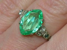 Vintage Ring: Art Deco Uranium Vaseline Glass, Sterling. 1920s on Etsy, $120.00