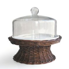 Willow Pedestal Cake Plate With Glass Dome | Display cakes, cheese, and more in rustic style