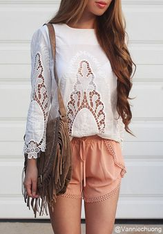 Floral White Cut Out Top - White Floral Cutout Blouse