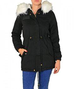 Γυναικείο παρκά με γούνα και κουκούλα μαύρο FD196C Parka a12c49fd2db