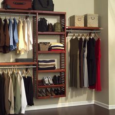 12 W Deep Solid Wood Premier Closet System I pinned this Louis Closet Organizer Set in Red Mahogany from the Elegant Organizing event at Joss and Main! The post 12 W Deep Solid Wood Premier Closet System appeared first on Kleiderschrank ideen. Room Divider Shelves, Closet Shelves, Closet Storage, Closet Racks, Hanging Shelves, Storage Room, Elfa Closet, Basement Closet, Bedroom Decor