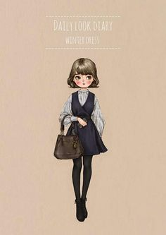 Daily look diary - Winter Dress by 애뽈 on Grafolio V Collection, Children Sketch, Forest Girl, Hipster Girls, Creative Pictures, Pastel Art, Illustration Girl, Daily Look, Anime Art Girl