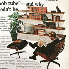 Eames Lounge Chair and Ottoman in an advertisement