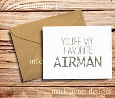 You're My Favorite Airman  Military Greeting by MadelieneDesigns