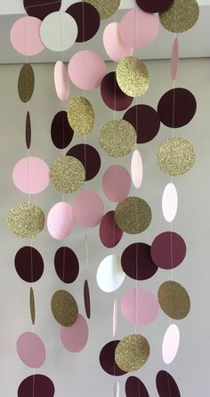 Burgundy Gold & Pink Paper Garland, Gold Glitter Circle Garland, Wedding…