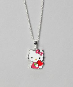 Take a look at this Pink Hello Kitty Heart Silver Pendant Necklace by Hello Kitty on #zulily today!