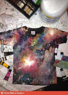 Used acrylic paint and bleach to make this awesome t-shirt.