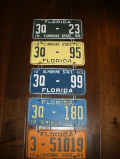 My Dad's old liscense plates into wall decor.