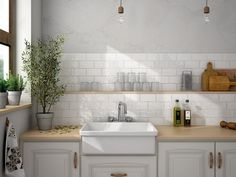 Traditional rustic kitchen wall tiles from Solus Ceramics.