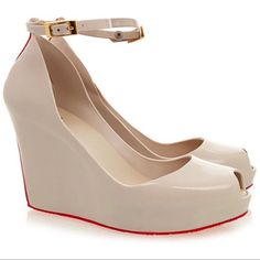 Melissa Patchuli Red Sole Wedge Open Toe Shoes 7