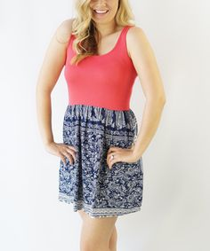 Look at this KISSmeMINT Pink Scarf Print Sleeveless Dress on #zulily today!