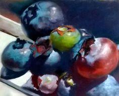 Blueberries 2  30 x 40 soft pastel by Sue Gardner 2014