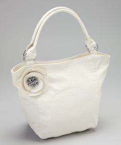 Take a look at this White Embellished Flower Tote on zulily today!