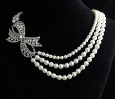 Crystal and Pearl Bridal Necklace Pearl and Crystal by JamJewels1