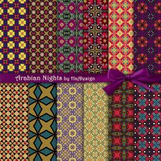 ARABIAN NIGHTS -  Arabian Textured Oriental Digital Paper Pack Scrapbook Paper Decoupage Paper Floral Ornaments Digital Paper 12 Papers