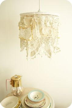 Copper wire mesh for diy lamp shade how to to do doily lamp a little nicer than the typical draped over the top of a lampshade method keyboard keysfo Image collections