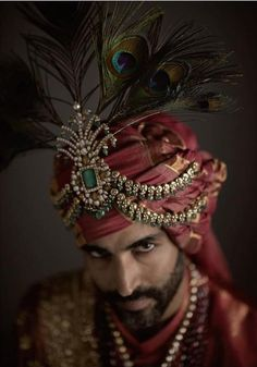 You just need to take a look at history to see for yourself how exuberant and extravagant bridal and formal Indian menswear can be. Wedding Dresses Men Indian, Wedding Dress Men, Turbans, Indian Groom Wear, Groom Accessories, Indian Men Fashion, Indian Man, Royal Indian, Bridal And Formal