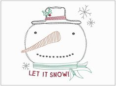 Primitive Country Christmas Stitch Let It Snow! Snowman Embroidery Design - Instant Digital Download