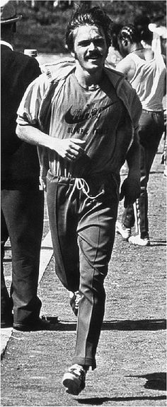 """Steve Prefontaine in Nike Gear running with """"Olympic Trials"""" lettered below the Nike t-shirt logo, July 1972 Olympic Trials Eugene, Oregon   Flickr - Photo Sharing!"""