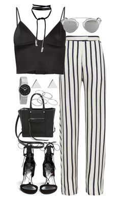 """""""Outfit with striped trousers"""" by ferned ❤ liked on Polyvore featuring Nicholas, T By Alexander Wang, Rebecca Minkoff, Stuart Weitzman, Apt. 9, Christian Dior, Skagen and Jennifer Meyer Jewelry"""