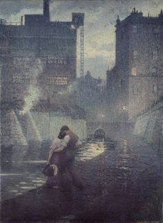 The Towpath - Christopher Nevinson 1912 British painter 1889-1946 Figure and landscape painter, etcher and lithographer,