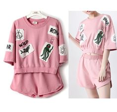 This is one set for sale ^.^  shoulder:52cm  chest:92cm  Length:42cm  Sleeve length:21cm  shorts: length: 33cm waist: 66-108cm ( elastic) Hip:96cm    This top and shorts set is so cute !! Please buy it ^.^