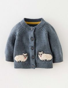 Baby Boden Sheep Cardigan in Sail Blue Marl/Sheep (BLU) - Give your little explorer the ultimate farmyard disguise with this supersoft cotton-wool blend cardigan, featuring two extra-special crochet sheep on the front. It's machine washable too — handy fo
