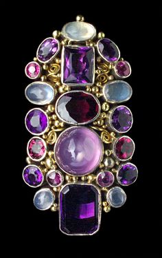 Arts & Crafts Silver, Gold, Amethyst, Moonstone And Pink Tourmaline Brooch - British  c.1930