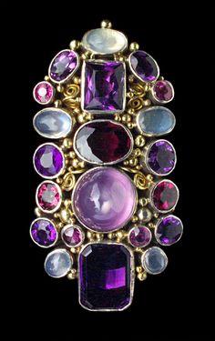 Arts & Crafts Silver, Gold, Amethyst, Moonstone And Pink Tourmaline Brooch - British  c.1930