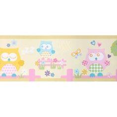 Diseño con dibujos de buhos beige en esta cenefa de la colección Coconet de Dandino.