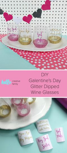 Celebrate Galentine's Day (aka Valentine's Day for with your BFF's) with these super cute DIY Glitter Wine Glasses. This post shares word art to make 6 different glasses along with an easy step by step tutorial with photos for how to make this project. This would be a great crafternoon project with friends! Use your Cricut to cut the word art. #CricutMade #Crafts #Galentine #DIY #Glitter #Valentine