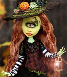 Custom Monster High Dolls, Monster High Repaint, Custom Dolls, Harley Quinn, Doll Repaint, Ooak Dolls, Halloween Face Makeup, Vintage, Etsy