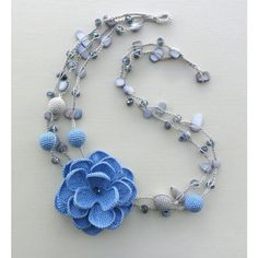 crocheted necklace, 100% cotton, beaded necklace, blue and grey,... (135 RON) ❤ liked on Polyvore featuring jewelry, necklaces, beading necklaces, beaded necklaces, blue necklace, bead crochet jewelry and macrame jewelry