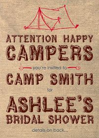 Camping Bridal Shower Camping Theme Party Baby Shower