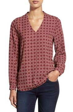 Pleione High/Low V-Neck Blouse (Regular & Petite) (Nordstrom Exclusive) available at #Nordstrom