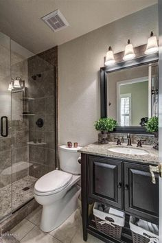 Traditional 3/4 Bathroom with limestone tile floors, Undermount sink, Complex Granite, Glazed Java Tan and White Pebble Tile