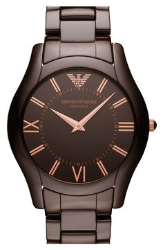 Free shipping and returns on Emporio Armani Large Round Ceramic Watch at Nordstrom.com. Clean lines define an elegant watch with a comfortably slim silhouette crafted in pure, glossy ceramic. Roman numerals make a classic display of two-hand time.