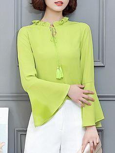 AdoreWe - Fashionmia Tie Collar  Tassel  Keyhole  Plain  Bell Sleeve Blouse - AdoreWe.com