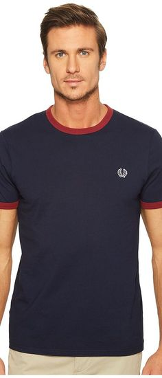 Fred Perry Ringer T-Shirt (Carbon Blue) Men's T Shirt - Fred Perry, Ringer T-Shirt, M1530-266, Apparel Top Shirt, T Shirt, Top, Apparel, Clothes Clothing, Gift, - Street Fashion And Style Ideas