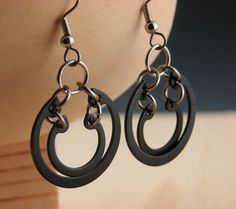 Black Dangle Earrings Hardware Jewelry by additionsstyle on Etsy, $12.00