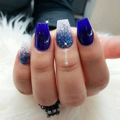 48 Best Blue and white nails images