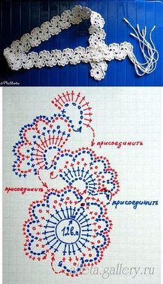 Crochet belt bracelet head band edging whatever your heart desires Ch Marque-pages Au Crochet, Crochet Belt, Crochet Borders, Crochet Diagram, Crochet Stitches Patterns, Crochet Chart, Thread Crochet, Love Crochet, Irish Crochet