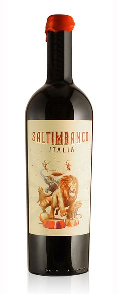 SALTIMBANCO. Garage project of an italian winemakers and a partner. The circus concept is because this project is for his own pleasure and fun but without loosing the artistic and balance idea that is requested to create a cult wine.Designed by Dizen, Argentina