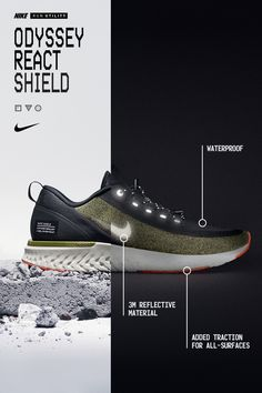 Not a problem. With a waterproof upper and added traction on any surface, the Nike Odyssey React Shield will take you there. Tap the Pin to learn more. Shoes Ads, Men's Shoes, Nike Shoes, Shoe Boots, Shoe Poster, Logo Basketball, Nike Pegasus, Shoe Game, Designer Shoes