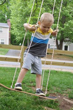 You've heard of a tire swing, and now there's the skateboard swing! The trick is to only raise the board a few inches off the ground — toddler's first skateboard just got so cute.